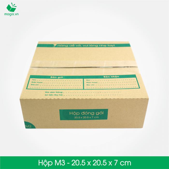 M3 - Size 20.5x20.5x7 cm- Hộp Carton đóng gói gửi hàng thu hộ COD3