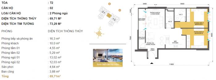 Bán căn số 2 tháp T2 Masteri giá chỉ 38tr/m2