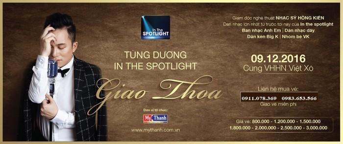Bán vé Liveshow Tùng Dương Giao Thoa ngày 9/12 tại Cung việt xô