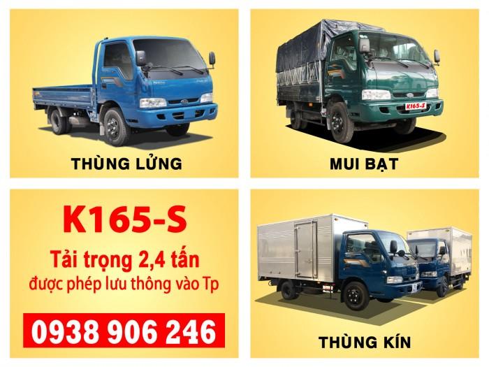 Xe tải Kia Thaco K165s, tải trọng 2t4 được phép lưu thông vào tp Xe tải K165s Thùng lửng, Thùng mui bạt, Thùng kín