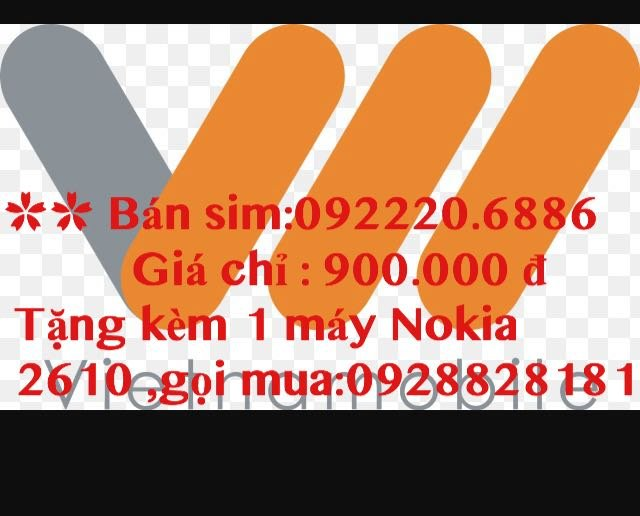 Bán sim 0922206886 giá 900.000 đ tặng Nokia 2610