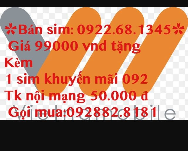 Sim VietNamobile 0922681345 giá 99000 đ tang kem 1 sim 092