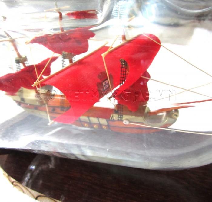 Mô Hình Thuyền Gỗ trong chai thủy tinh Lớn1