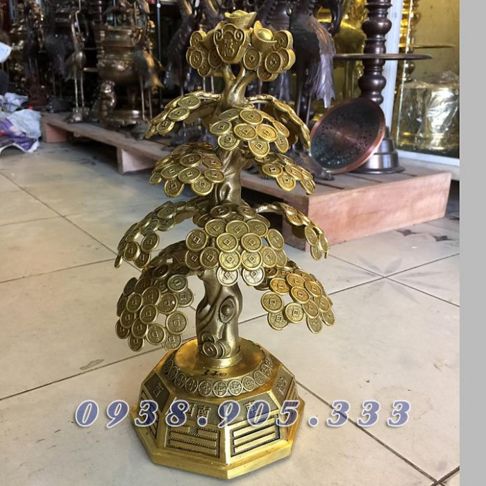 Cây tiền phong thủy bày bàn thờ thần tài 40cm1