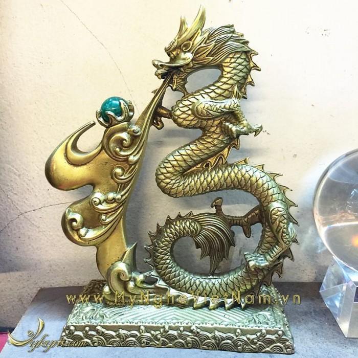 Chữ phúc hóa rồng nhả ngọc phong thủy 30cm