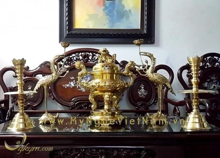 Đỉnh thờ rồng chầu nguyệt 36cm ngũ sự giả cổ