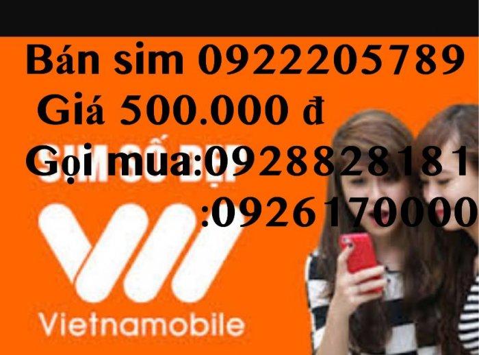 Sim 0922205789 giá chỉ 500.000 đ tặng kèm 1 Sim 092