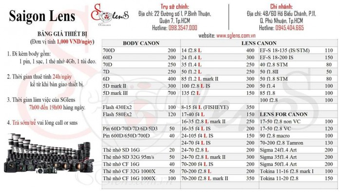 Bảng giá Canon