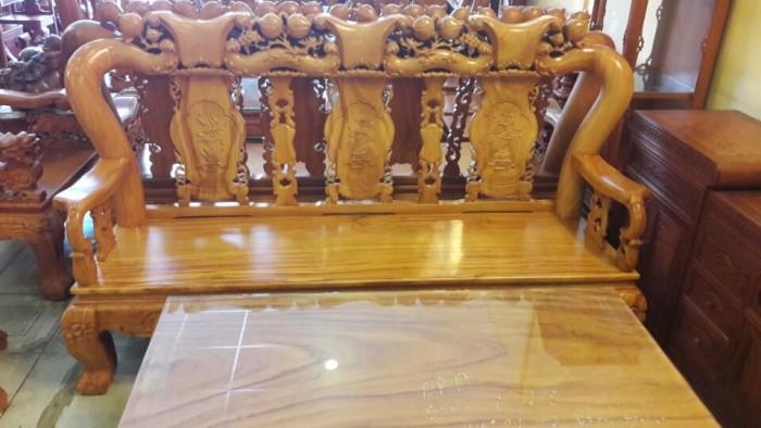 Bộ bàn ghế gõ đỏ chạm đào 6 món tay 12-BBG251