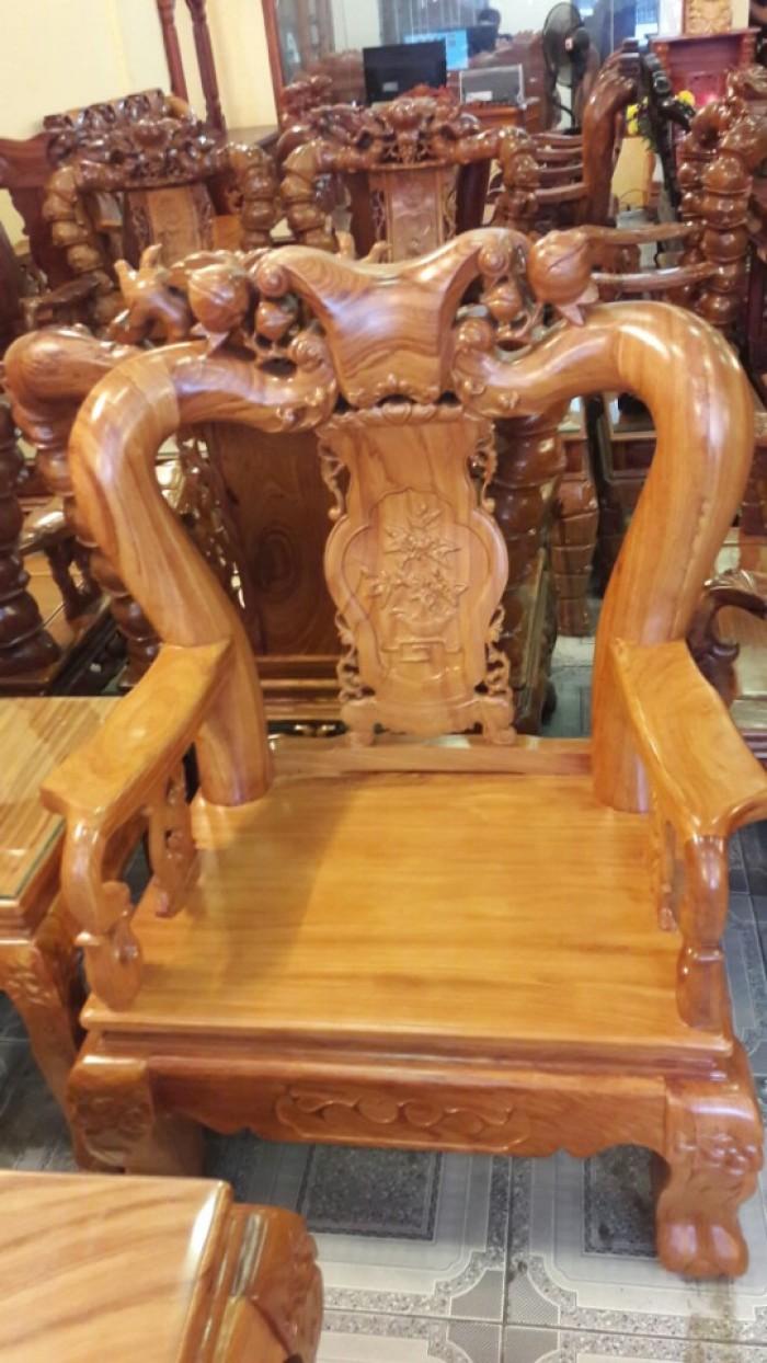 Bộ bàn ghế gõ đỏ chạm đào 6 món tay 12-BBG253