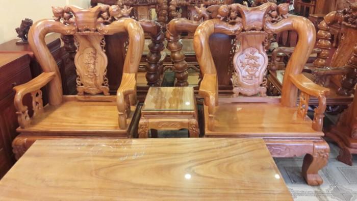 Bộ bàn ghế gõ đỏ chạm đào 6 món tay 12-BBG254