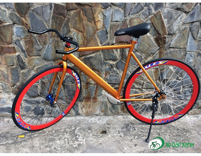 Xe đạp Fixed Gear New màu CAM CÁ TÍNH