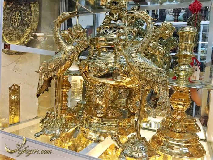 Đỉnh đồng vàng nguyên chất hoa sòi 60cm vàng bóng