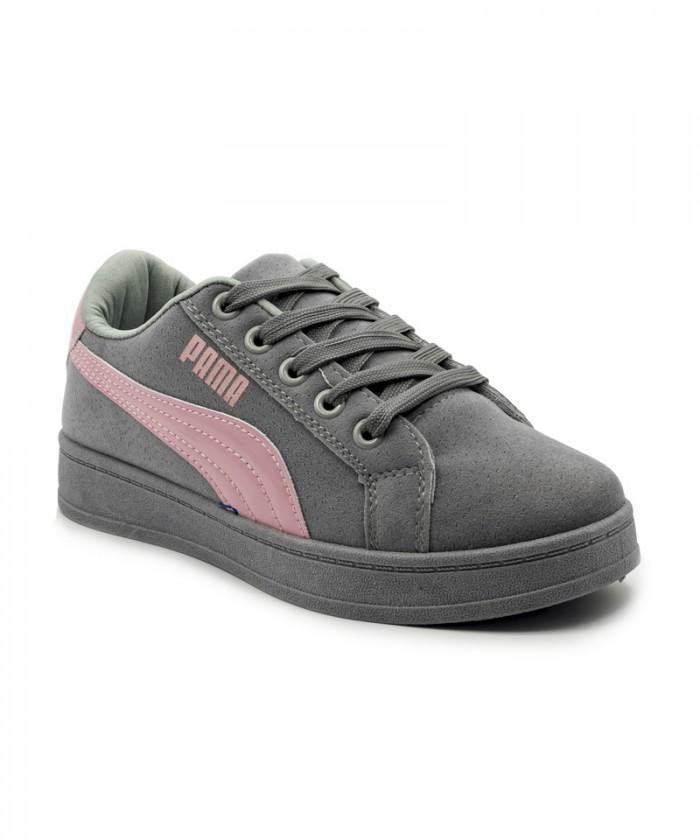Giày nữ Sneaker xám viền hồng MSN8005
