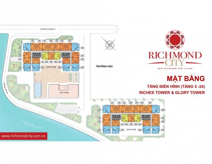 Bán căn hộ Richmond city Bình Thạnh 2 mặt view sông chỉ 23,5tr/m2