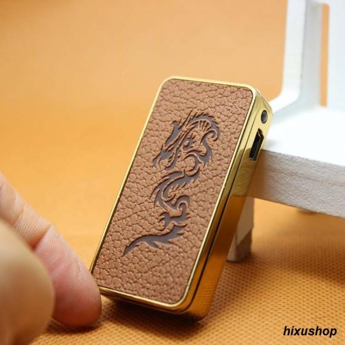 Hộp quẹt pin sạc vỏ da cao cấp Leather Creative Lighter0
