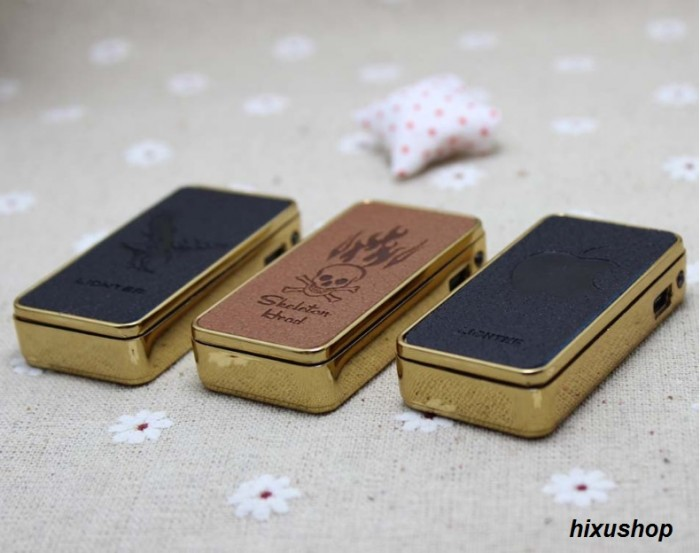 Hộp quẹt pin sạc vỏ da cao cấp Leather Creative Lighter1