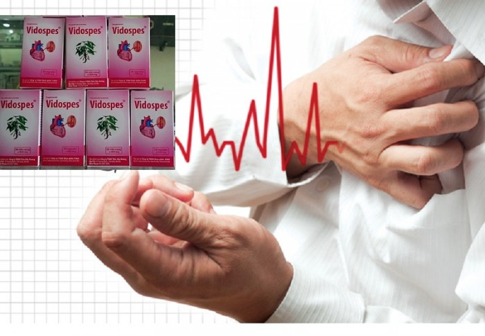 Vidospes hỗ trợ cho bệnh nhân tim mạch từ thảo dược. Sản phẩm giúp giảm đau tức thắt ngực, phá cục máu đông, tăng cường lưu thông máu trong cơ thể. Hộp 30 viên nang  Giá bán: 95.000đ/ lọ