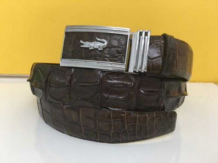 Thắt lưng da cá sấu nguyên con màu nâu cao cấp - Hàng thật 100% - MSN383321