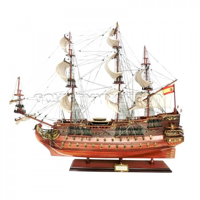 - Mô Hình Thuyền Gỗ Chiến Cổ San Felipe (Thân 40cm - 80cm Gỗ Tự Nhiên)