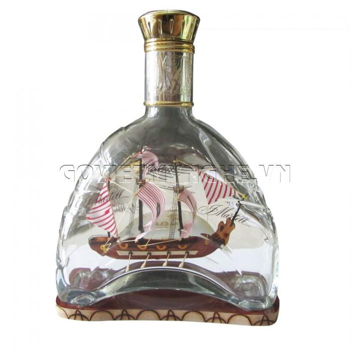 Mô Hình Thuyền Gỗ Trong Chai Thủy Tinh Martell X.O N1, Dài 18 x Rộng 7 x Cao 24 (cm) - Giá 320.000₫