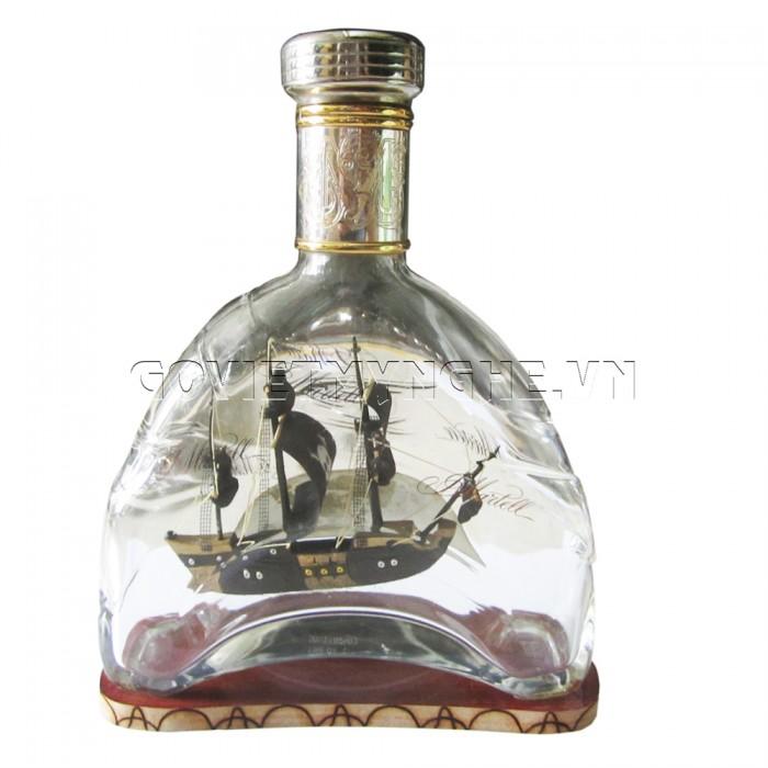 Mô Hình Thuyền Gỗ Trong Chai Thủy Tinh Martell X.O N5 ,Dài 18 x Rộng 7 x Cao 24 (cm) - Giá 320.000₫