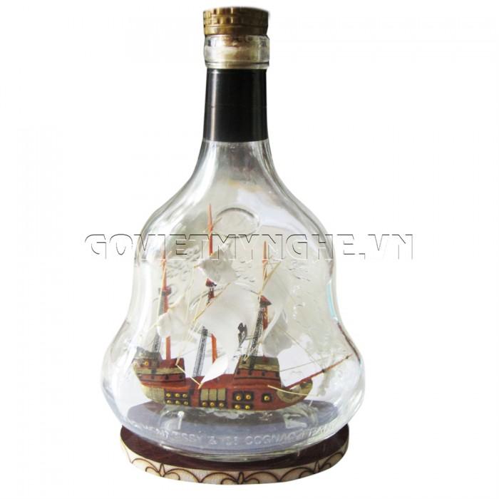 Mô Hình Thuyền Gỗ Trong Chai Hennessy X.O N1, Dài 15 x Rộng 7 x Cao 24 (cm), Giá 300.000đ