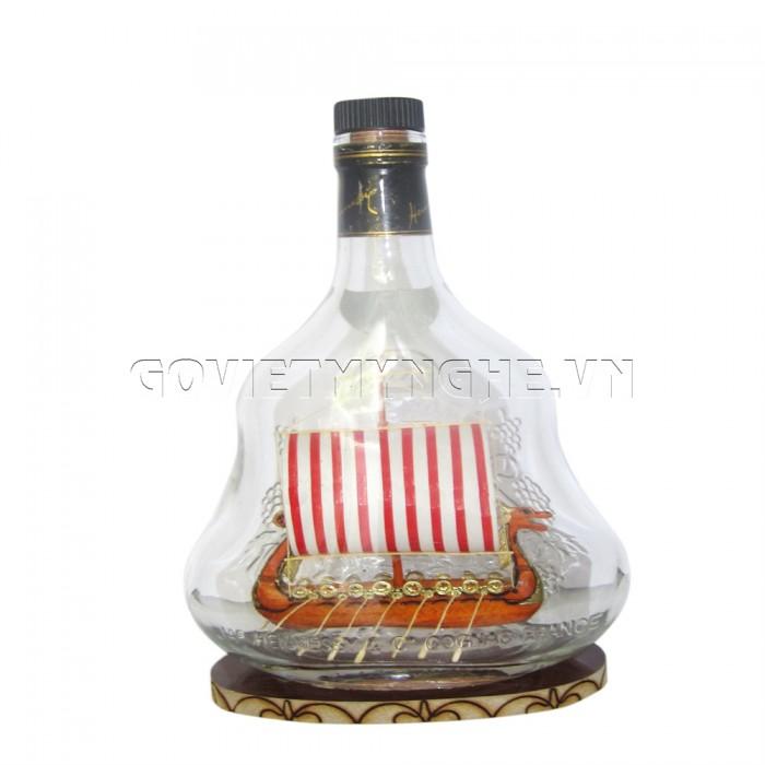 Mô Hình Thuyền Gỗ Trong Chai Hennessy X.O N6, Dài 15 x Rộng 7 x Cao 24 (cm), Giá 300.000đ