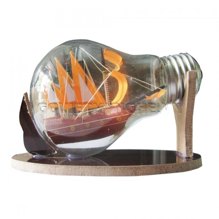Mô Hình Thuyền Gỗ Trong Bóng Đèn Thủy Tinh N3, Dài 11 x Rộng 6 x Cao 7 (cm), Giá 110.000đ