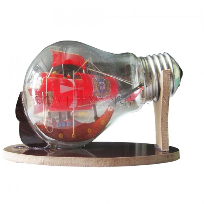 Mô Hình Thuyền Gỗ Trong Bóng Đèn Thủy Tinh N4, Dài 11 x Rộng 6 x Cao 7 (cm), Giá 110.000đ