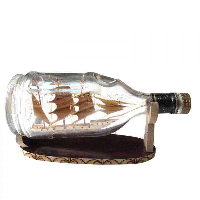 Mô Hình Thuyền Gỗ Trong Chai Thủy Tinh Hennessy Lớn N1,Dài 20 x Rộng 9 x Cao 12 (cm), Giá 220.000đ