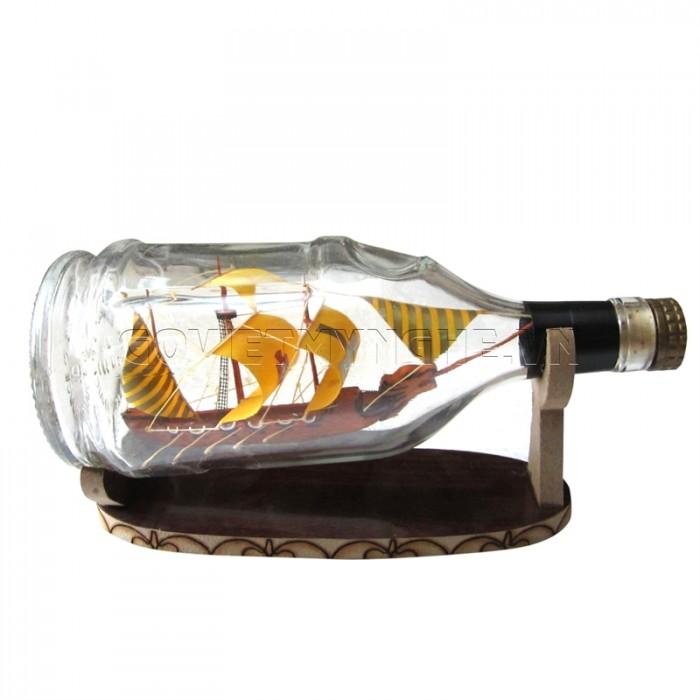 Mô Hình Thuyền Gỗ Trong Chai Thủy Tinh Hennessy Lớn N2,Dài 20 x Rộng 9 x Cao 12 (cm), Giá 220.000đ