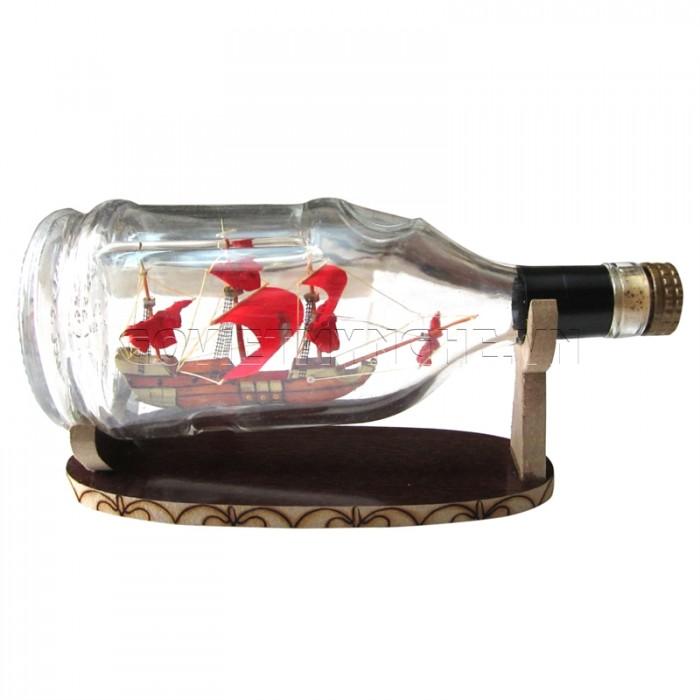 Mô Hình Thuyền Gỗ Trong Chai Thủy Tinh Hennessy Lớn N3,Dài 20 x Rộng 9 x Cao 12 (cm), Giá 220.000đ