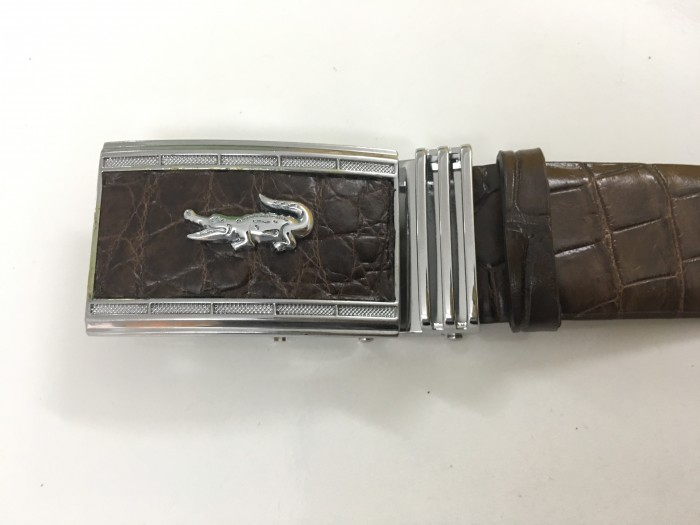 Thắt lưng da cá sấu nguyên con màu nâu cao cấp - MSN383321