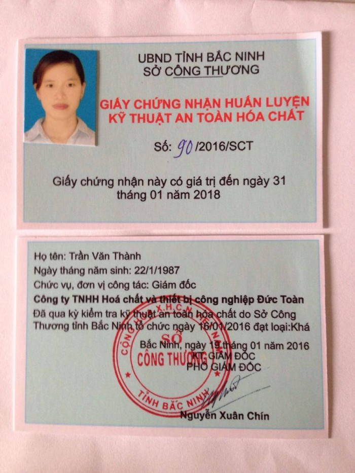 Đào tạo AN TOÀN HÓA CHẤT theo thông tư 36/2014 Sở công thương