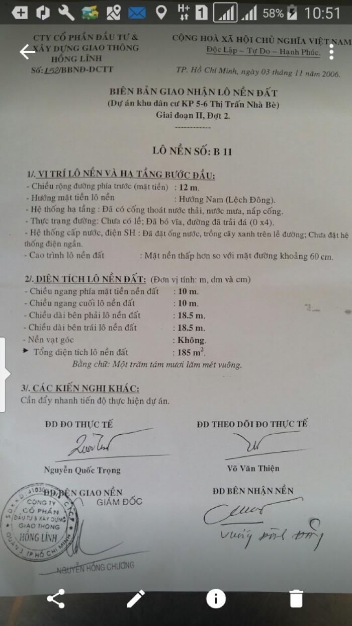 Bán đất dự án Hồng Lĩnh, thị trấn Nhà Bè, Lô B11. Giá 9tr/m2.