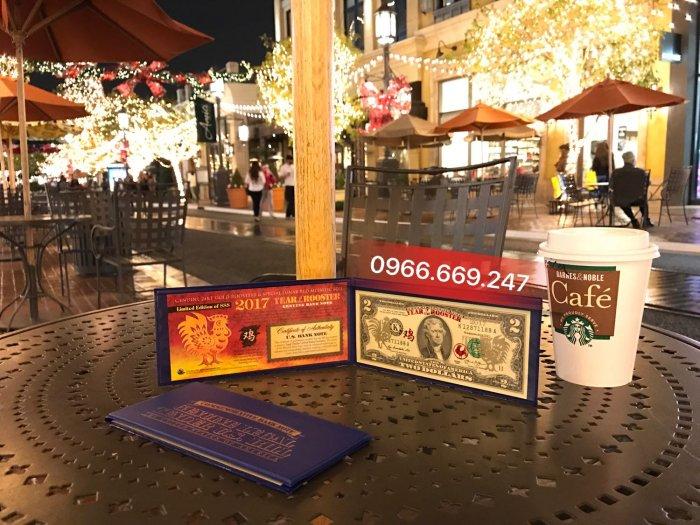 2 USD Dát Vàng Thật 24K Hình Con Gà + Thẻ Chứng nhận từ Hoa Kỳ + Giấy Giám định Vàng SJC0