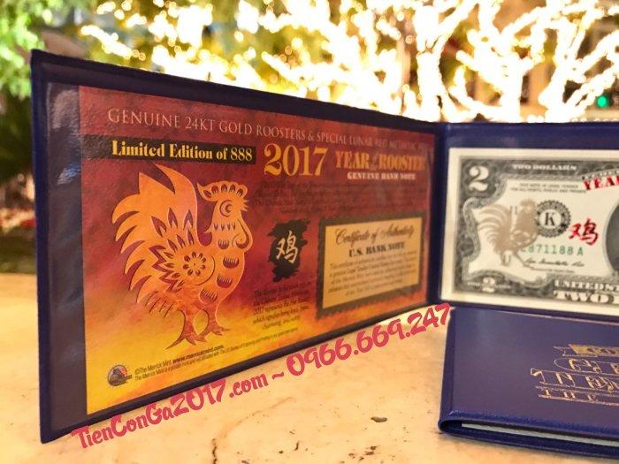 2 USD Dát Vàng Thật 24K Hình Con Gà + Thẻ Chứng nhận từ Hoa Kỳ + Giấy Giám định Vàng SJC1