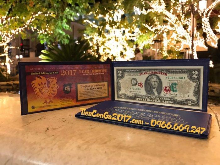 2 USD Dát Vàng Thật 24K Hình Con Gà + Thẻ Chứng nhận từ Hoa Kỳ + Giấy Giám định Vàng SJC3