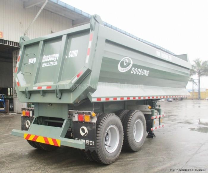 Sơmi rơ móoc ben Xilanh HYVA FC DOOSUNG 24.8 tấn thùng 20.7 khối (m3), Rơ mooc tải tự đổ Doosung
