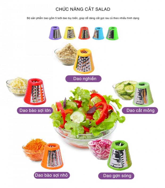 Máy cắt rau củ và làm kem Arirang Life đa chức năng với lưỡi dao cắt xoáy mạnh mẽ: 5 chức năng cắt rau củ, làm kem tuyết trái cây nguyên chất.