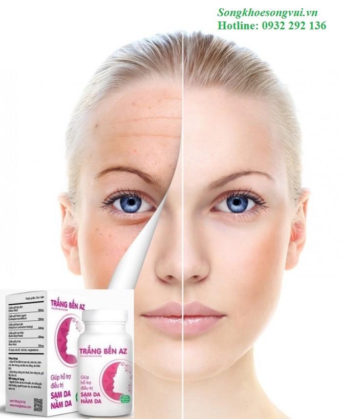 Trắng bền AZ giúp làm trắng da, phục hồi làn da hư tổn, cải thiện làn da trắng hồng tự nhiên. Lọ 30 viên, giá bán: 299.000đ. Liên hệ 0932 292 136 để được giao hàng tận nơi trên toàn quốc