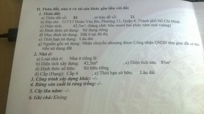 Nhà bán chính chủ, 517/17 Đoàn Văn Bơ, p13,q4