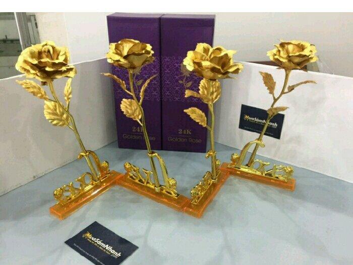 Hoa hồng 3D mạ vàng1