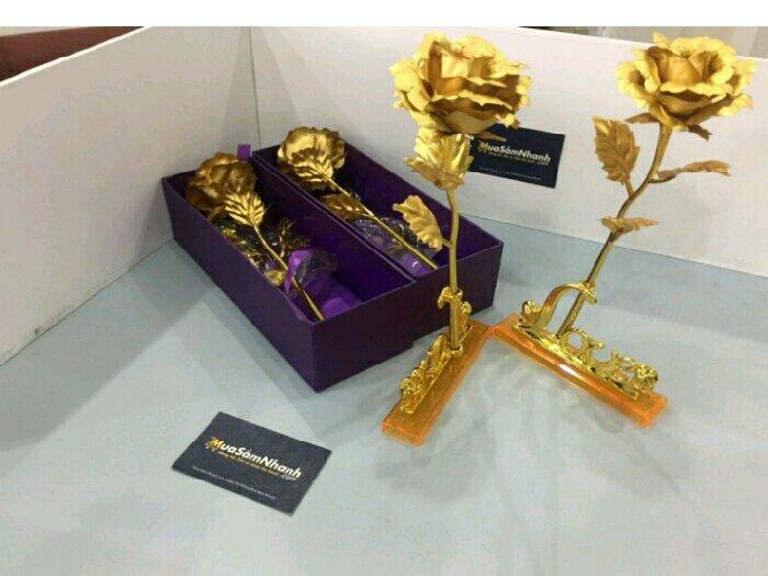Hoa hồng 3D mạ vàng2