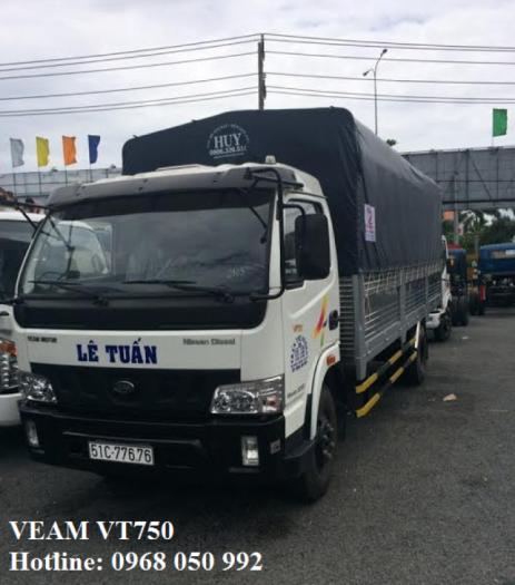 Gía xe tải Veam VT750, 7,5 tấn Thùng Dài 6m1