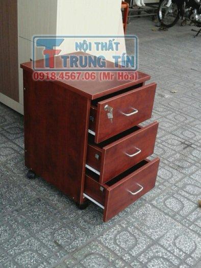 Tủ hồ sơ di động - tủ 3 ngăn di động màu nâu đỏ0