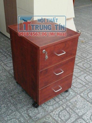 Tủ hồ sơ di động - tủ 3 ngăn di động màu nâu đỏ1