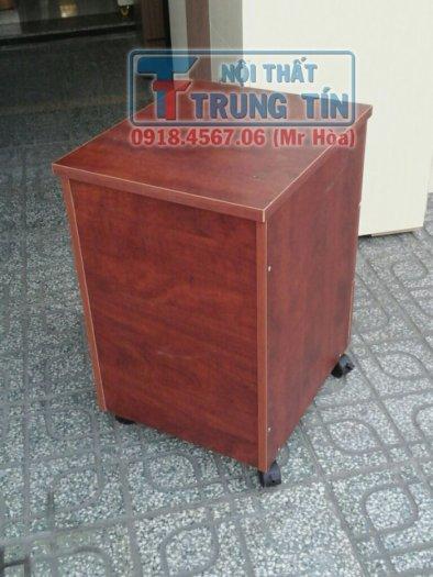 Tủ hồ sơ di động - tủ 3 ngăn di động màu nâu đỏ3