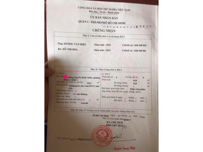 Cần bán gấp đi nước ngoài nên bán nhà Nguyễn Đình chiểu,phường Đakao,Q.1